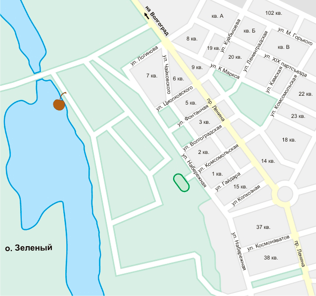 Волжские бани на карте